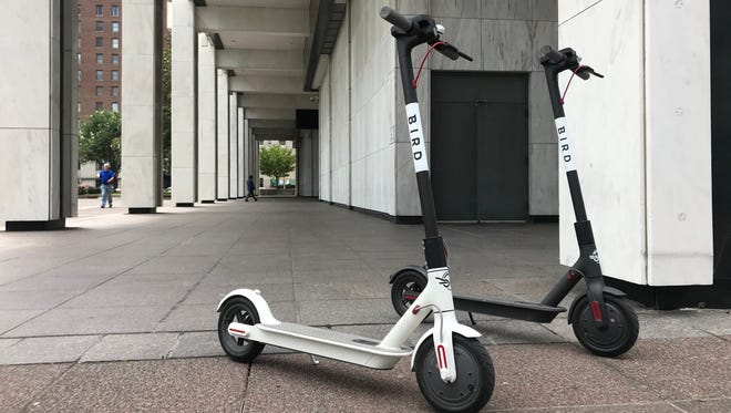 Two Bird electric scooters perch outside Memphis City Hall on June 19, 2018, three days after the company deployed 200 of the scooters in the city.