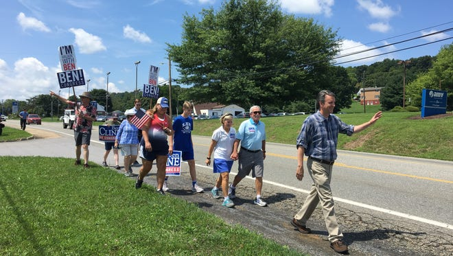 Ben Cline, Republican nominee for the 6th district of Virginia congressional seat, leads his walking tour through Staunton Saturday Aug. 4.
