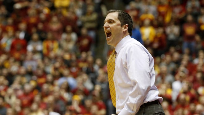 Iowa State head coach Steve Prohm reacts to a call against the Cyclones Saturday, Jan. 9, 2016 during their 94-89 loss to Baylor at Hilton Coliseum in Ames.