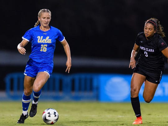 Buena High graduate Hailie Mace, left, was recruited by UCLA after her family sent the coach a video of her highlights. Now a junior, she has developed into one of the Pac-12's best forwards while gaining national attention.