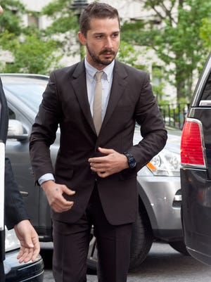 Shia LaBeouf arrives at Manhattan Criminal Court on July 24, 2014 in New York City.