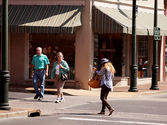 Shoppers stroll down Beverley Street in Staunton on Tuesday, Sept. 13, 2016.