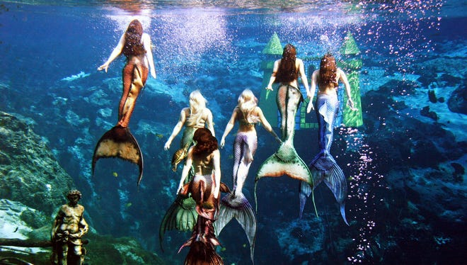 Weeki Wachee Springs State Park, Fla., features the kitschy spectacle of women dressed in fish tails who perform underwater, breathing through air hoses.