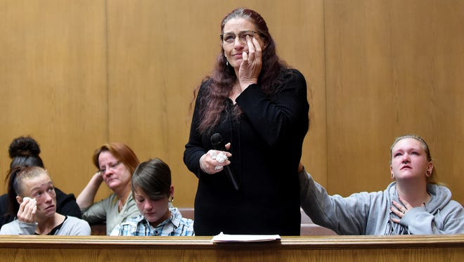 Traci Cunningham wipes away tears as she tells a story about her son, Chance Harley, before Judge David Branstool in Licking County Common Pleas Court. Harley died of a drug overdose in March of 2017 at the age of 22. Nickolas Traylor was sentenced to five years in prison Tuesday after admitting to selling the cocaine, Fentanyl and Carfentanil mixture that caused the fatal overdose.