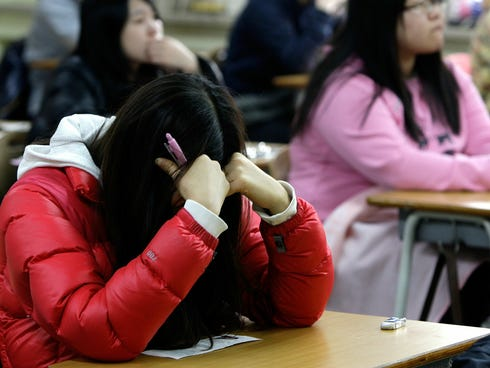 South Korean students take their College Scholastic Ability Test at a school in November 2010 in Seoul. South Korean students often score higher than their U.S. counterparts on skills assessment tests.