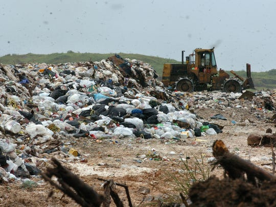 In this file photo, flies fill the air above the trash