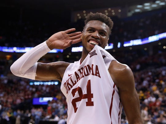 Oklahoma guard Buddy Hield (24) celebrates defeating VCU during the second round of the 2016 NCAA Tournament at Chesapeake Energy Arena.
