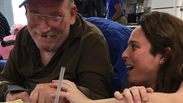 Gerrit Franssen, left, a PARC day habitation participant, with DSP Nicole Sears.