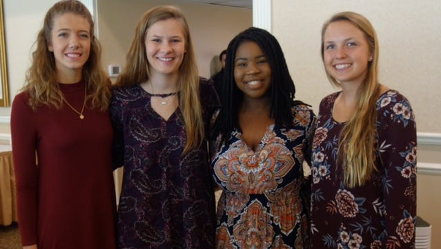 Democratic Women's Club of Indian River County 2017 scholarship recipients (from left) Sierra Ritchey, Elizabeth Tuite, Giovanna Mompremier and Shannon Jessup.