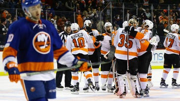The Flyers snapped a three-game losing skid with an overtime victory over the New York Islanders.