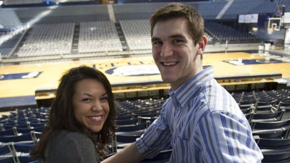 Here is Samantha and Andrew Smith, pictured at Hinkle Fieldhouse, as his senior season finished last spring.