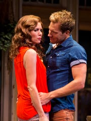 """Suzanne Bouchard as Masha and Joshua James Campbell as Spike in the Arizona Theatre Company production of """"Vanya and Sonia and Masha and Spike."""""""