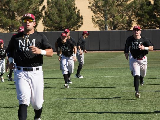 NMSU baseball players start the first official practice