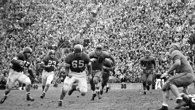 Ed Bagdon (65) won the Outland Trophy as the nation's best interior lineman in 1949.