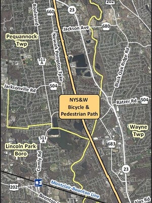A map showing the route of a planned recreational trail that will replace an abandoned rail line running from Pequannock to Wayne.