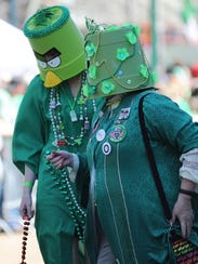 """Judges wear """"buckethead"""" masks at a previous St. Paddy's"""