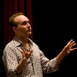 Dan Wester speaks before a showing at the Tallahassee Film Festival