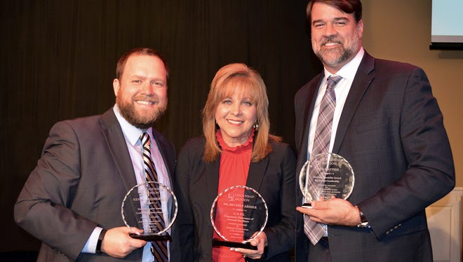 From left: Leadership Jackson alumni who were recognized are Kevin Adelsberger, Adelsberger Marketing, class of 2015, the Emerging Leader Award; Dr. Beverly Absher, Union University, class of 2009, the Community Observance of Personal Excellence (COPE) Award; Jack Matthis, Alexander Thompson Arnold PLLC, class of 2003, the Harbert Alexander Award for Servant Leadership.