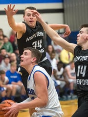 Northern Bedford's Andrew Foor (34) and Case Donaldson