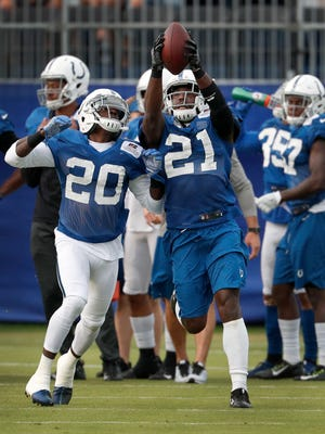 Indianapolis Colts free safety Darius Butler (20) attempts to knock the ball away from Vontae Davis (21) at their practice during preseason training camp Friday, August 4, 2017, morning at the Colts complex on West 56th Street.