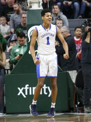 Southfield Christian guard Harlond Beverly celebrates