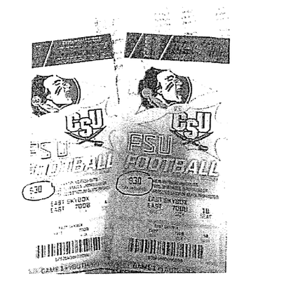 Copies of the FSU football tickets in question.