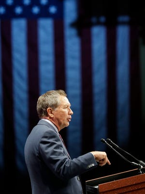Ohio Gov. John Kasich says admitting Syrian refugees now would jeopardize the safety of Americans. Here, Kasich, addresses the Sunshine Summit in Orlando, Fla., on Saturday as part of his presidential campaign. (AP Photo/John Raoux)