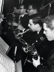 Sax Section of the Thad Jones-Mel Lewis Jazz Orchestra at the Village Vanguard on opening night, Feb. 7, 1966. (L to R): Joe Farrell,Jerry Dodgian, Jerome Richardson, Eddie Daniels, Marvin Holladay