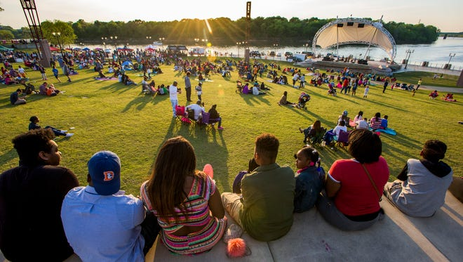 Crowds turn out for the season's first Second Saturday at Riverfront Park in Montgomery, Ala. on Saturday April 9, 2016.