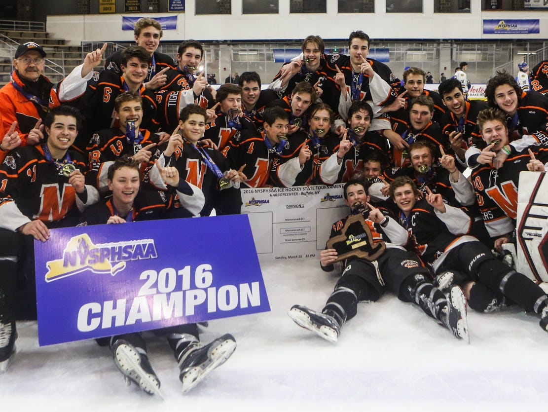 Mamaroneck winning the NYSPHSAA Division 1 HarborCenter in Buffalo, NY. Nick Serrata - For The Journal News