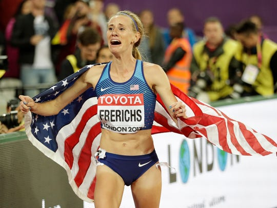 United States' Courtney Frerichs celebrates after winning the silver medal in the women's 3000m steeplechase final during the World Athletics Championships in London on Aug. 11, 2017. Frerichs was set to complete in the now-postponed 2020 Tokyo Olympics.