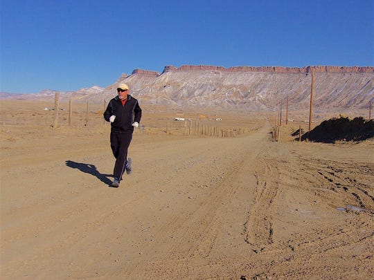 Foot Notes reader Gary Entsminger (pictured), of Grand Junction, Colo., shares with us this picture of a seven-mile run in the high desert of western Colorado. He may appear overdressed for a run in the desert, but the temperature was 24 degrees.