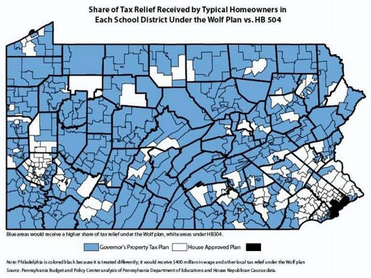 This map produced by the Keystone Research Center compares property tax relief under Gov. Wolf's plan with a plan sponsored by state Rep. Stan Saylor, R-Windsor Township, that passed the House.