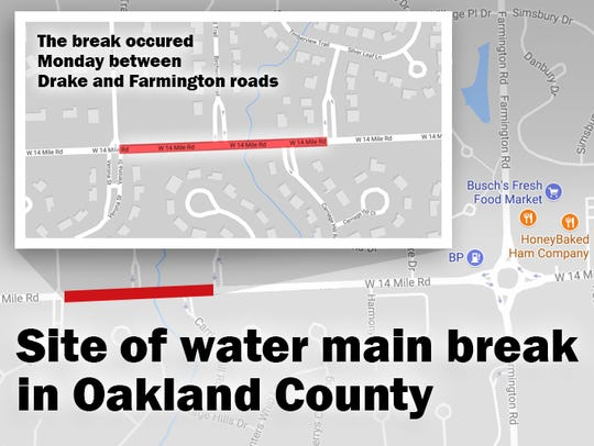 Oakland Country water main break