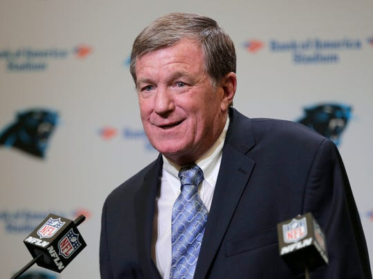 """FILE - In this Wednesday, July 19, 2017 file photo, Carolina Panthers interim general manager Marty Hurney speaks to the media during a news conference in Charlotte, N.C. The Panthers have reinstated interim general manager Marty Hurney after an NFL investigation found no wrongdoing into charges of harassment by his ex-wife. The NFL said in a statement Friday, Feb. 16, 2018 that """"our investigation identified no evidence to support an allegation of domestic violence or similar conduct that would constitute a violation of the personal conduct policy."""" (AP Photo/Chuck Burton, File)"""