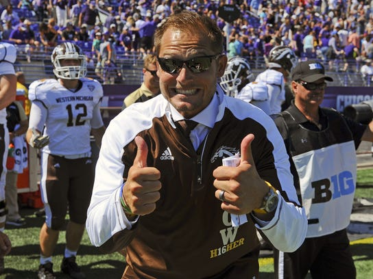 Western Michigan head coach P.J. Fleck reacts after beating Northwestern 22-21 in an NCAA college football game in Evanston, Ill., Saturday, Sept. 3, 2016. (AP Photo/Matt Marton)