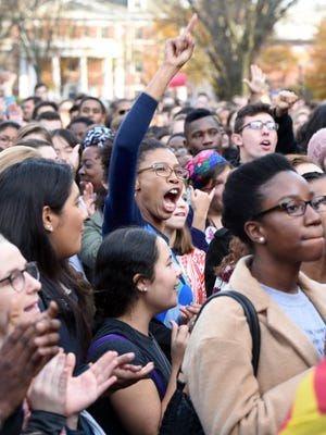 Yale University students and faculty rally against racial insensitivity on Nov. 9, 2015, in New Haven.