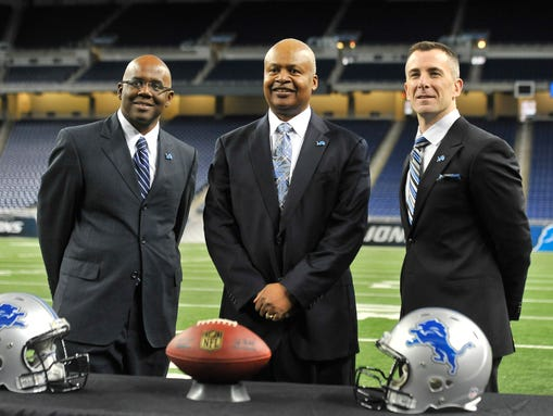 From left, Martin Mayhew, Jim Caldwell and Tom Lewand