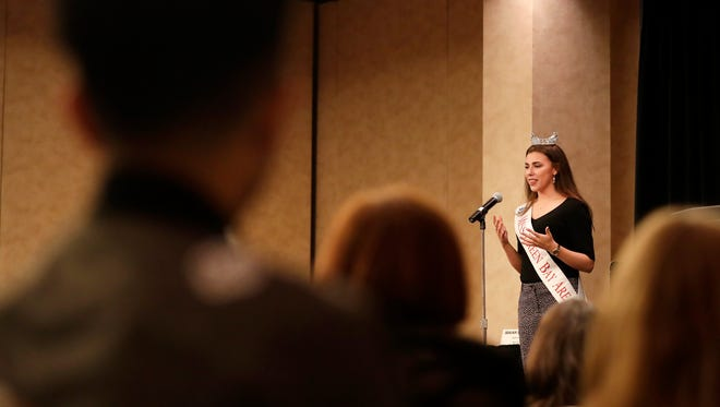 Katrina Mazier speaks during the Storycatchers portion of USA TODAY NETWORK-Wisconsin's Appleton Kids in Crisis town hall Tuesday, March 6, 2018, at the Radisson Paper Valley Hotel in Appleton, Wis.Danny Damiani/USA TODAY NETWORK-Wisconsin