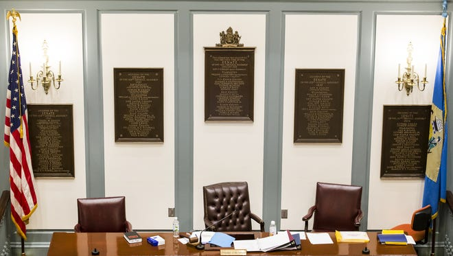The chair of the Delaware Senate president, a seat filled by the lieutenant governor when the job is filled, sits empty during a session of the General Assembly. The state has not had a lieutenant governor since last year.
