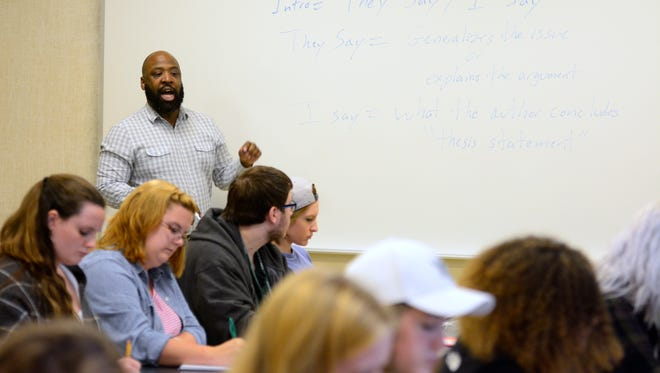 Dr. Erec Smith, assistant professor of rhetoric and composition, teaches a class at York College of Pennsylvania, Thursday, October 6, 2016. John A. Pavoncello photo