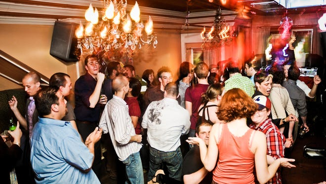 A dance party at Half Lounge featuring DJ Rob Douglas and Moonflower in 2010.