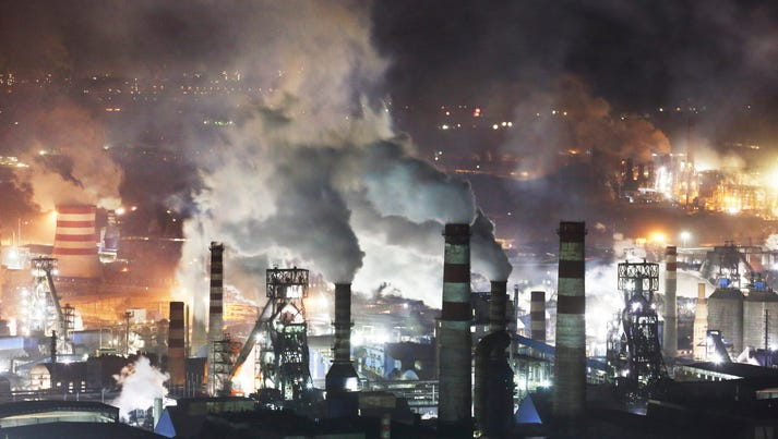 Steel plants on the western side of Qian'an city, northern