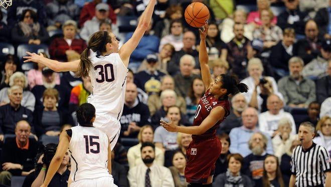 Temple's Alliya Butts, right, shoots as Connecticut's Breanna Stewart, left, defends during the first half of an NCAA college basketball game, Wednesday, Jan. 14, 2015, in Storrs, Conn. (AP Photo/Jessica Hill)