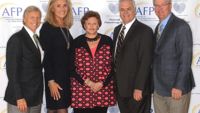 (left to right) Eisenhower Medical Center CEO Michael Landes, Laura Fritz of Eisenhower Medical Center, OUTSTANDING PHILANTHROPIST JoAnn McGrath, Martin Massiello of Eisenhower Medical Center, and David McGrath of Highland Street Foundation.