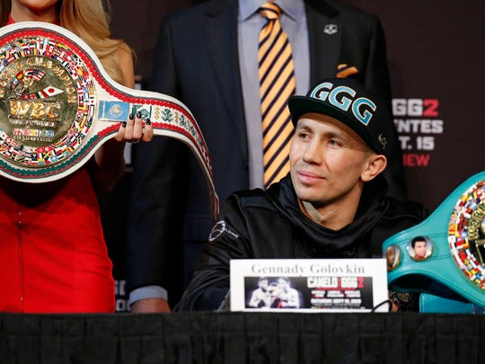 "Gennady Golovkin listens during a news conference Wednesday in Las Vegas. Golovkin is scheduled to fight Saul ""Canelo"" Alvarez in a title bout Saturday in Las Vegas."