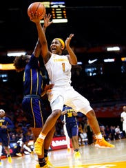 Tennessee guard Anastasia Hayes (1) shoots as she's