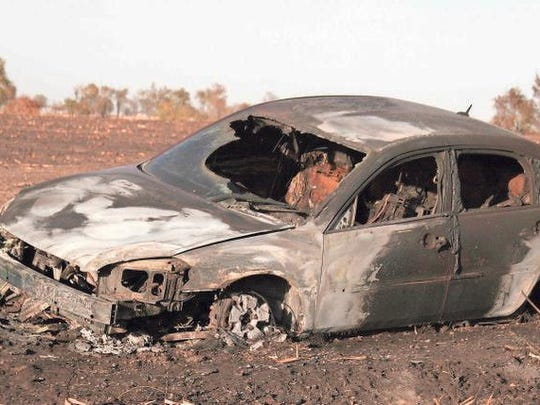 This car was a complete loss after a grass/field fire that is estimated to have destroyed approximately 500 acres on Thursday, Oct. 15 burned through the area. Three counties sent fire fighters to help battle the blaze that is believed to have started in the field behind the car.