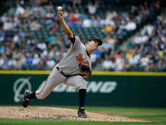Baltimore Orioles starting pitcher Ubaldo Jimenez throws against the Seattle Mariners in the fourth inning of a baseball game, Sunday, July 3, 2016, in Seattle. (AP Photo/Ted S. Warren)