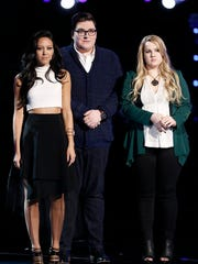 Team Adam - Amy Vachal, Jordan Smith, Shelby Brown - readies for the results of the Top 10. All three made it in.